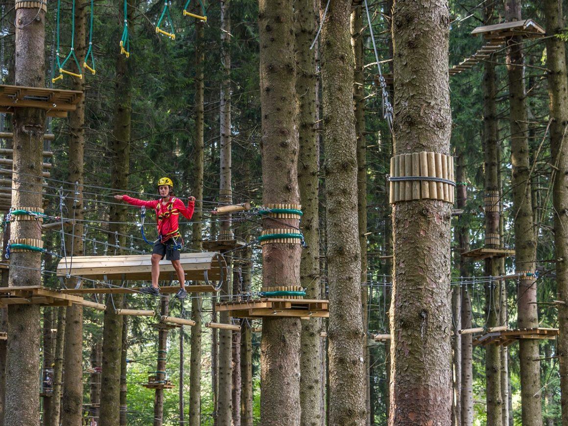 Percorso con passaggi sospesi tra gli alberi al Jungle Raider Park di Civenna