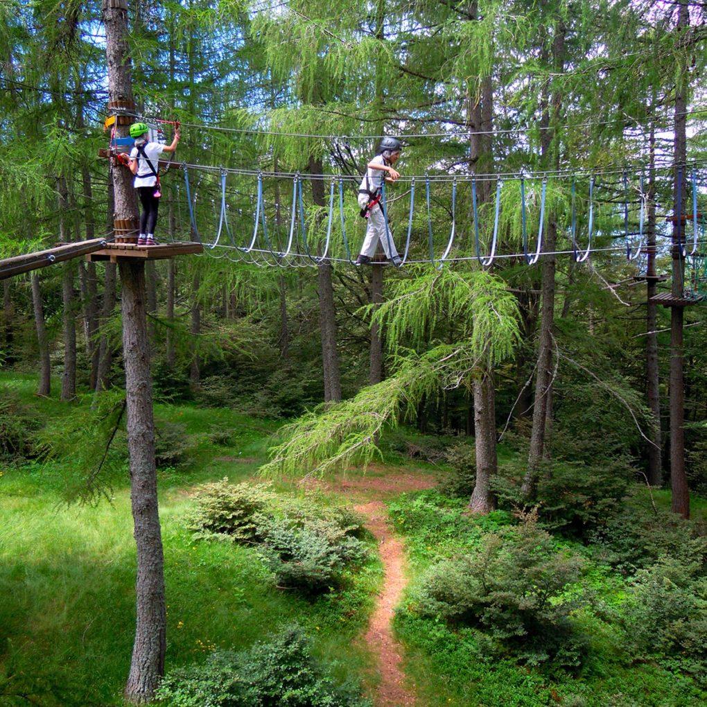 Percorso di albering del parco divertimenti in Lombardia