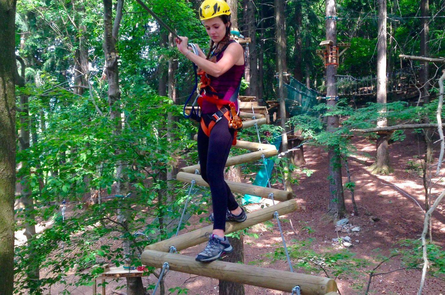 Ponte del percorso per adulti del parco avventure in Lombardia