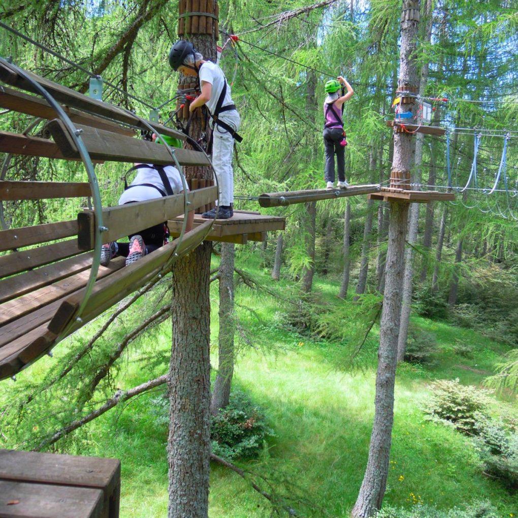 Percorsi tra gli alberi per elementari al parco avventura