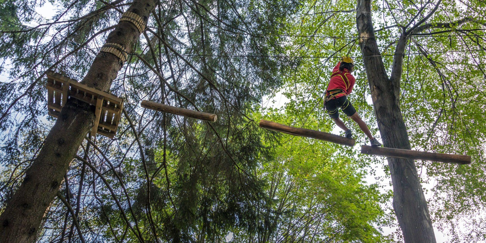 Passaggio tra gli alberi del parco avventura a Civenna